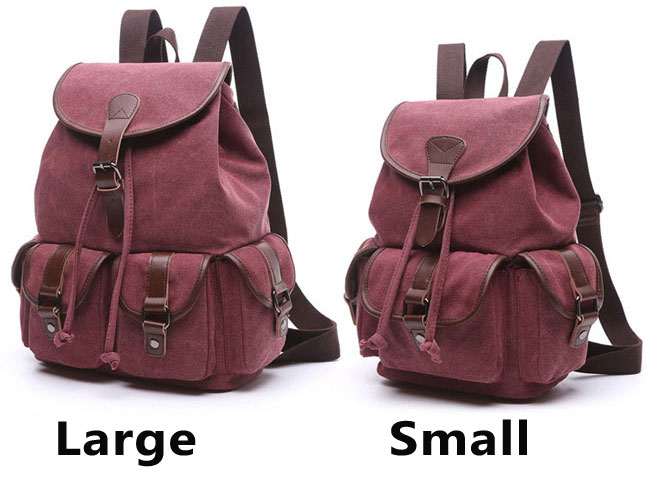 Leisure Draw String Flap School Backpack Belt Metal Lock Retro Canvas Travel Backpack