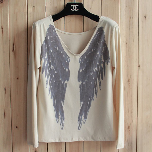 Casual Angel Wings Sexy V Neck Long Sleeve T-Shirt