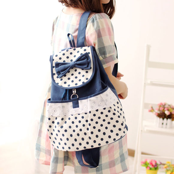 Fresh Sweet  Dot Lace Bow Backpack big sale