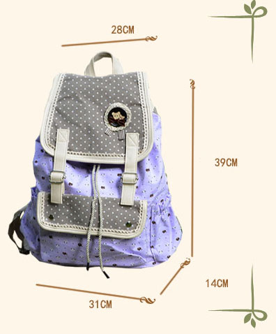 Fresh Dots Floral Canvas Lace Backpack Schoolbag