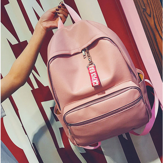 Simple Pink Large PU College Chic Lichee Pattern Student Backpack