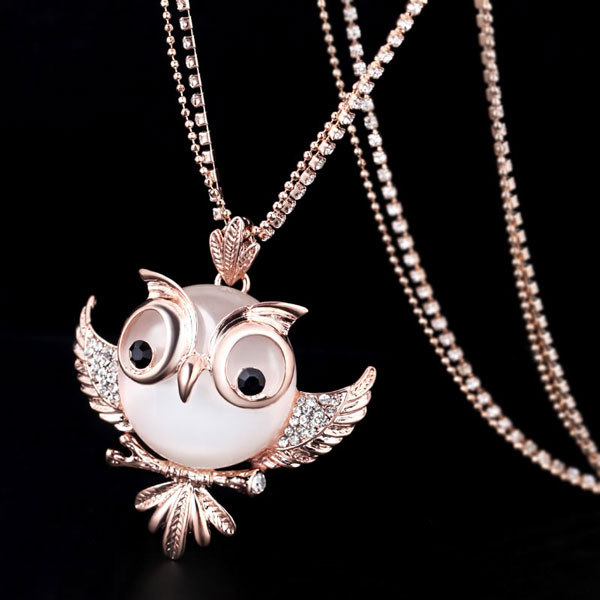 Owl Opal Long Necklace Sweater Chain