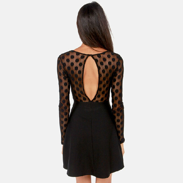 Dot Pattern Grenadine Hollow Back A-line Dress