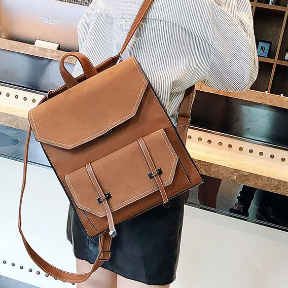 1d2b90e64c00 Retro Flap Belt Square School Bag Lady Brown Frosted College Backpack