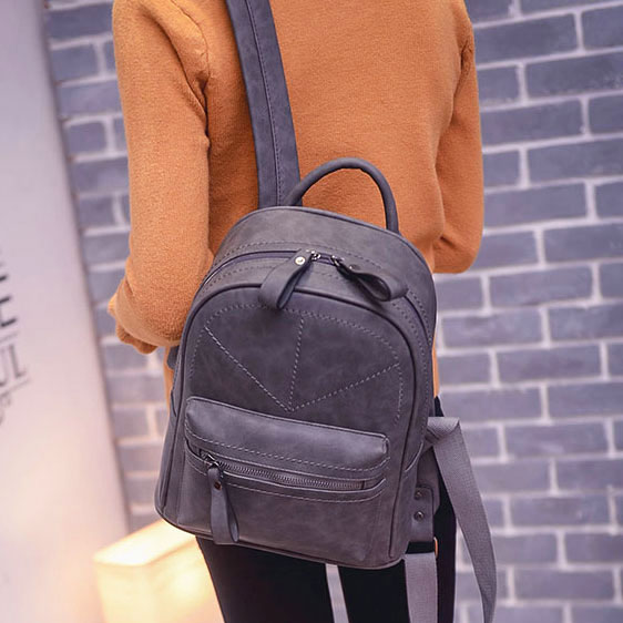 Leisure Frosted Thread Geometric Pattern Simple School Backpack