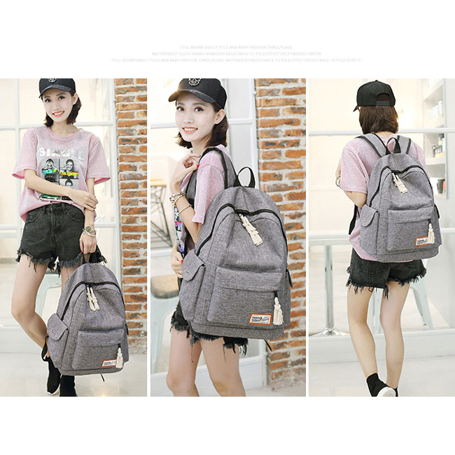 Leisure Girl's Waterproof Oxford Cloth Simple Style Whole Color Large School Backpack Travel Backpack