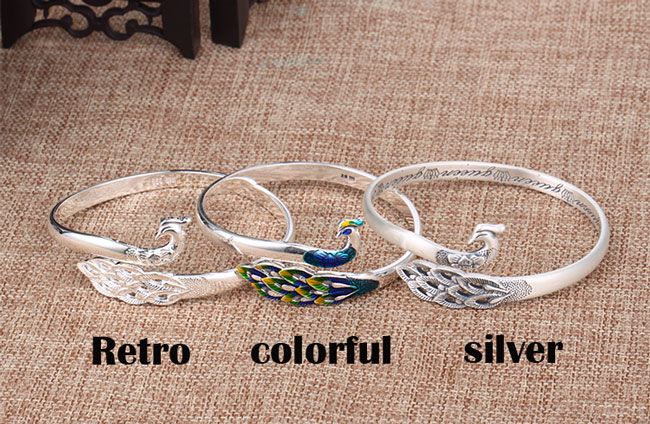 Retro Unique Design Silver Peacock Adjustable National Handmade Animal Bracelet
