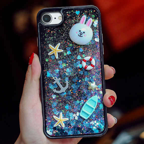 Cartoon Stereo Rabbit Bear Chick Glitter Quicksand Cute Phone Case Iphone 6/6 plus/6s/6s plus/7/7 plus Case