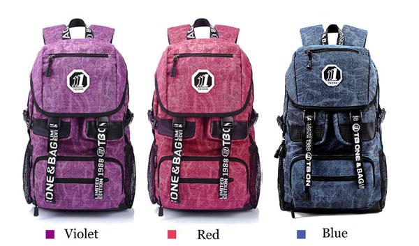 Floral Print Canvas Schoolbags Backpacks