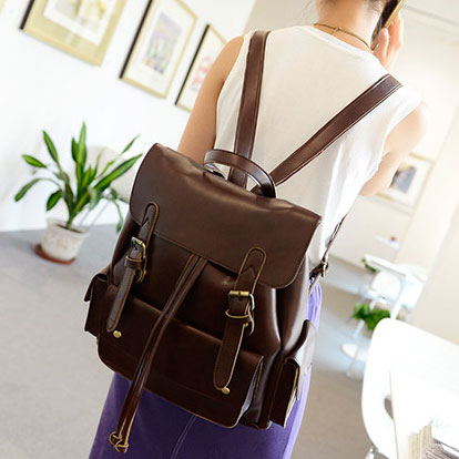 College Style Double Buckle Drawstring PU Backpack
