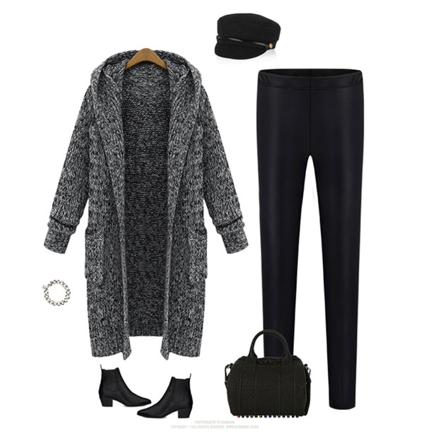 Hooded Lapel Knit Long Cardigan Sweater Coat