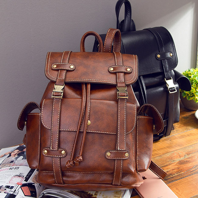 Retro Brown England Style Three Pockets Two Belts School Bag Travel Backpack