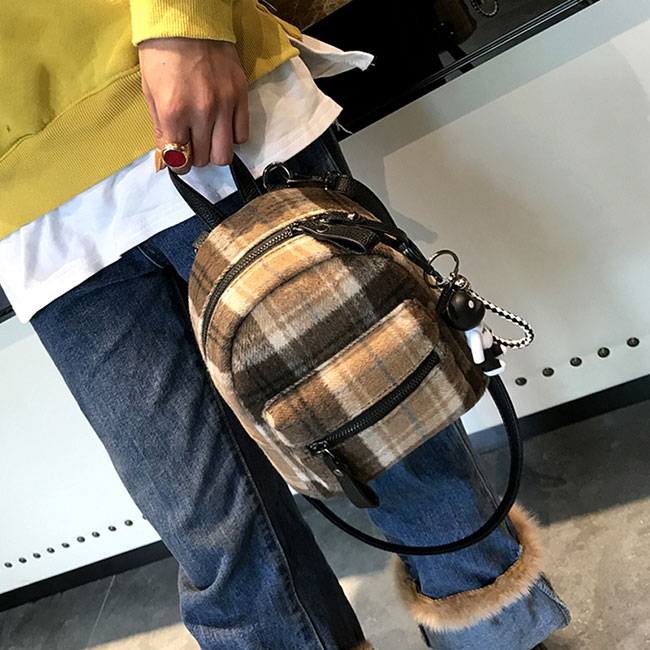 Leisure Student Chic lattice School Bag Grid Small Lady Backpack