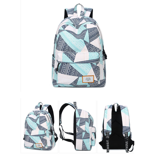Fresh Geometric Pattern Printing Girl's Student Rucksack Waterproof Large Canvas School Backpack