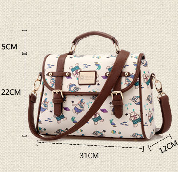 Pretty School Cartoon Print Shoulder Bag