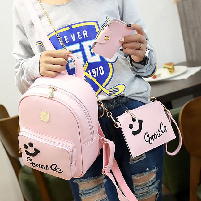 Cute Smile Face Black Pink Solid Girl's Backpack Gift Two Small Clutches