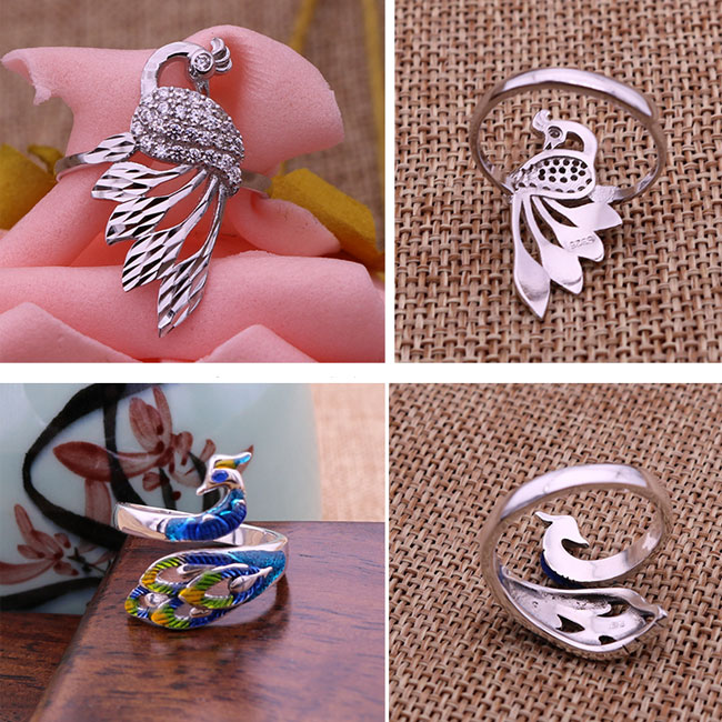 Folk Handmade Silver Peacock Adjustable National Creative Open Animal Ring