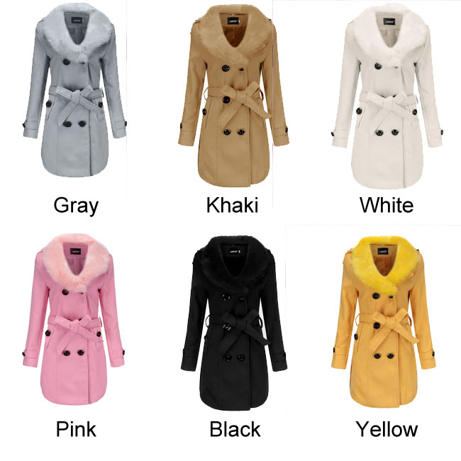 Leisure Hairy Fur Collar Double Button High Collar Winter Warm Women Coat