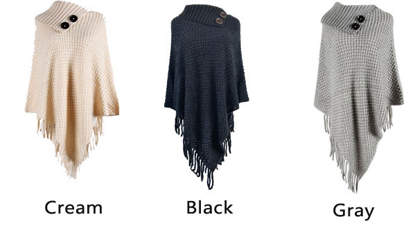 Leisure Irregular Button Half Open Collar Knitting Fringed Cloak Shawl  Hooded Ladies Sweater