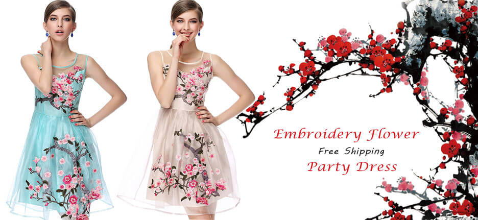 2016 Handmade Embroidery Flower Organza Party Dress in Atwish